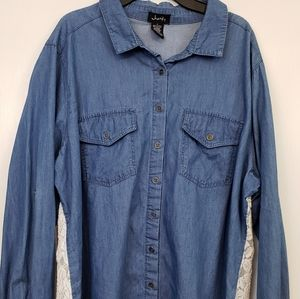 Justify denim with lace back button up shirt 1x